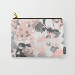 grey and millennial pink abstract painting trendy canvas art decor minimalist Carry-All Pouch