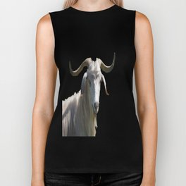 Portrait of a Horned Goat Grazing Vector Biker Tank