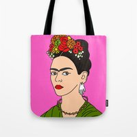 frida Tote Bags featuring Frida by Neon Wonderland