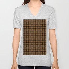 Small Brown Weave Unisex V-Neck