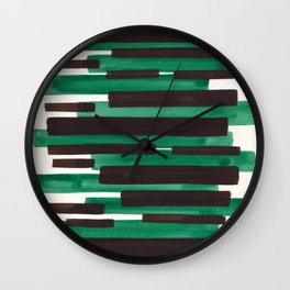 Deep Green Turquoise Primitive Stripes Mid Century Modern Minimalist Watercolor Gouache Painting Col Wall Clock