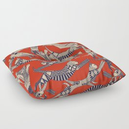 cat party retro Floor Pillow