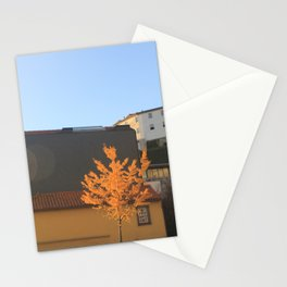 Yellow tree in the city Stationery Cards