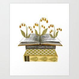 floral reading i Art Print