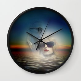 the couple of the lake Wall Clock