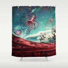 Sunrise Flight on Purple Planet Shower Curtain