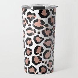 Modern Chic Black Rose Gold Foil Leopard Print Travel Mug