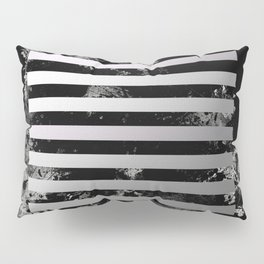 Industrial Action - Metallic, black and white, abstract, geometric, textured painting Pillow Sham