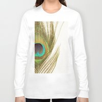 peacock feather Long Sleeve T-shirts featuring Peacock Feather by Kimberly Blok