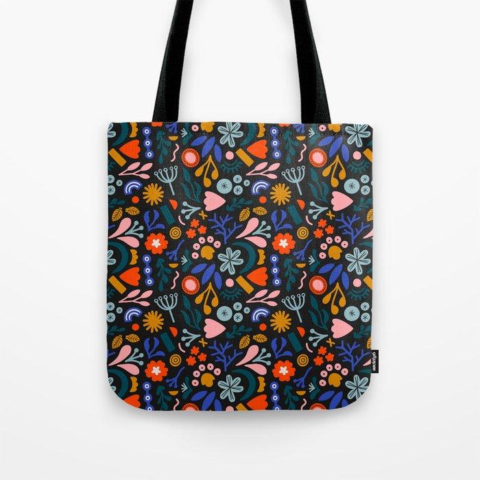 Abstract Botanical Dark Tote Bag