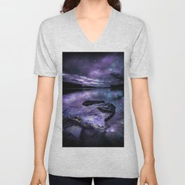 Magical Mountain Lake Purple Teal Unisex V-Neck