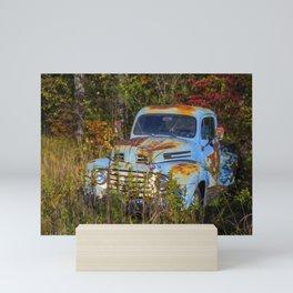 Old Blue Truck Mini Art Print