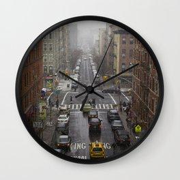 East Harlem NYC Snowy Saturday Wall Clock