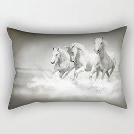 Wild White Horses Rectangular Pillow