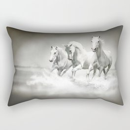 Wild White Horses Rectangular Pillow