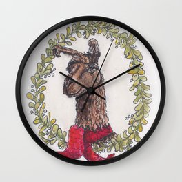 No Drama Holiday Llama Wall Clock