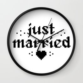 just married couple wedding gift pixel heart Wall Clock