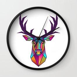 Deer | Geometric Colorful Low Poly Animal Set Wall Clock
