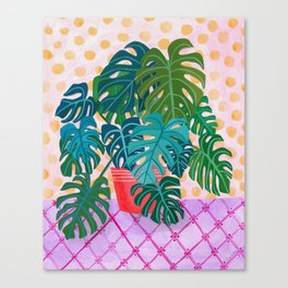 Split Leaf Philodendron Houseplant Painting Canvas Print