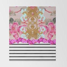 Fashion Girly Pink Vintage Floral Trendy Stripes Pattern Throw Blanket