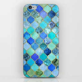 Cobalt Blue, Aqua & Gold Decorative Moroccan Tile Pattern iPhone Skin
