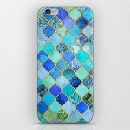 Cobalt Blue, Aqua & Gold Decorative Moroccan Tile Pattern iPhone Skin