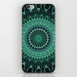 Mandala in green glowing tones iPhone Skin