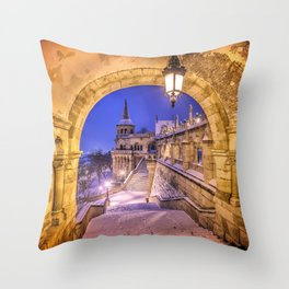 Snowy winter morning at the Fisherman's Bastion in Budapest Throw Pillow