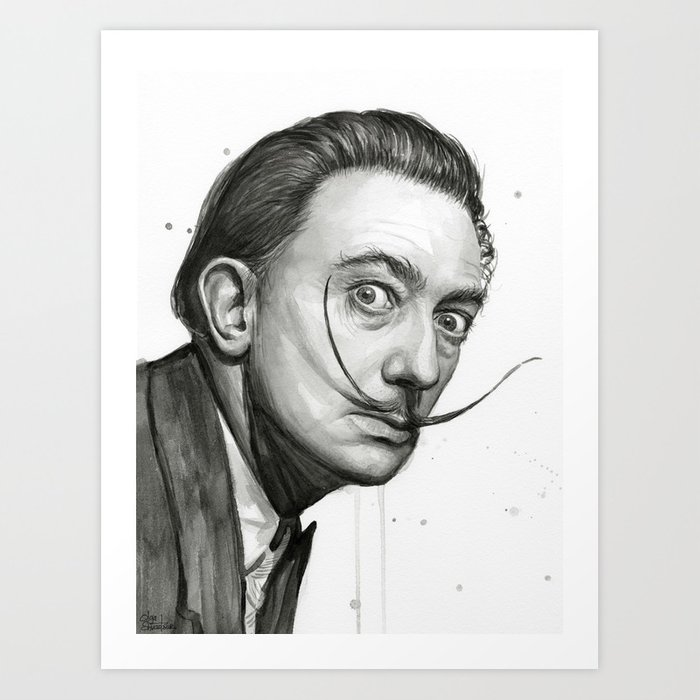 Salvador Dali Watercolor Portrait Art Print