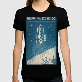 SpaceX retro-futuristic poster design T-shirt