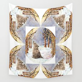 Wolf Oval Pattern Wall Tapestry
