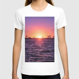 Mission Bay Palm Tree Sunset in San Diego, California T-shirt