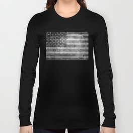 US flag, Old Glory in black & white Long Sleeve T-shirt