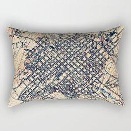 Vintage Map of Charlotte North Carolina (1905) Rectangular Pillow
