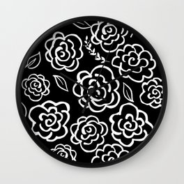 Large Floral Outlines - White/Black Wall Clock