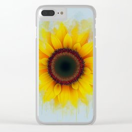 Sunflower Painting Clear iPhone Case