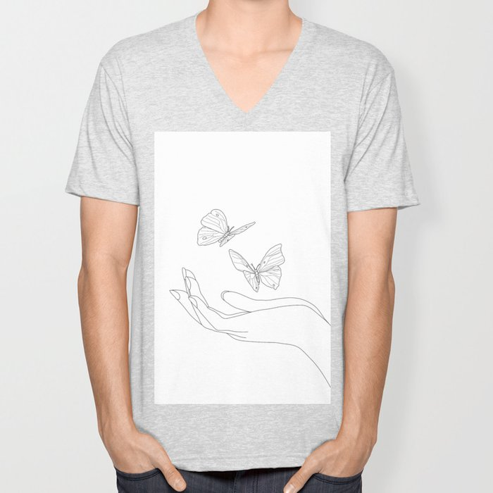 Butterflies on the Palm of the Hand Unisex V-Neck