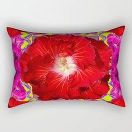 Tropical Red Hibiscus & Fuchsia Florals Green Color Rectangular Pillow