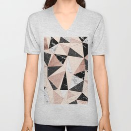 Modern black white marble rose gold glitter foil geometric abstract triangles pattern Unisex V-Neck