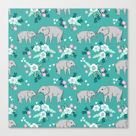 Elephants cute pattern florals good luck flowers and baby animals Canvas Print