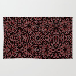 GOTHIC Red Unusual Rose Pattern Rug