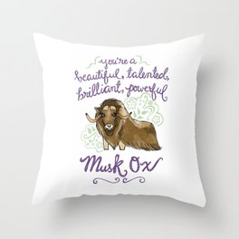 Leslie Knope Compliments: Musk Ox Throw Pillow
