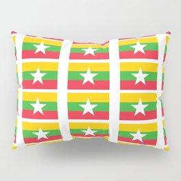 Flag of Myanmar 3-ဗမာ, မြန်မာ, Burma,Burmese,Myanmese,Naypyidaw, Yangon, Rangoon. Pillow Sham