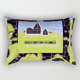 Black and White Hearts on a Hill Rectangular Pillow