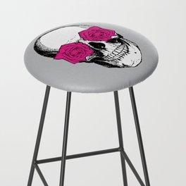 Skull and Roses | Grey and Pink Bar Stool