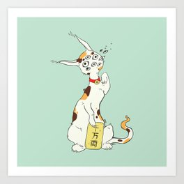 Maneki Neko Lucky Cat Artwork, Good Luck Japanese Calico Art Print