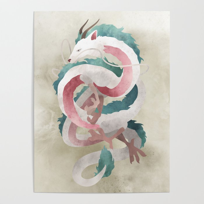 Spirited Away Haku Dragon Illustration Miyazaki Studio Ghibli Poster By Lizasou Society6