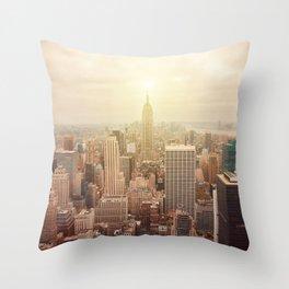 New York City skyline. Vintage skyscraper photo Throw Pillow