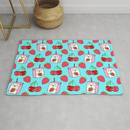 Cute funny sweet boxes of yummy flavored milk, little cherries and red ripe summer strawberries cartoon fantasy pastel blue pattern design Rug