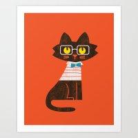 preppy Art Prints featuring Fitz - Preppy cat by Picomodi